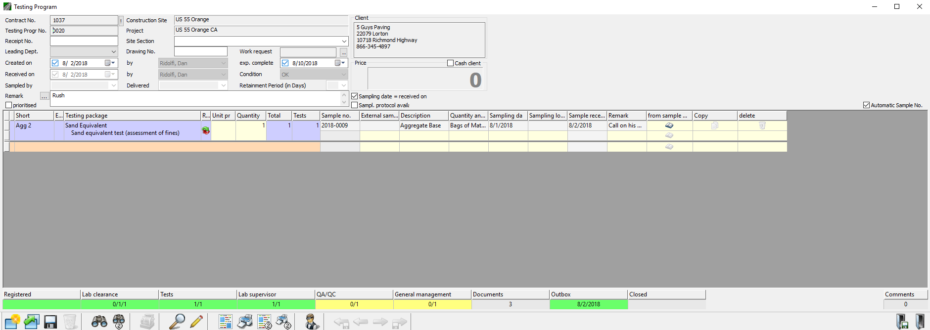Construction Materials testing Laboratory Workflow Management Module Status Bar