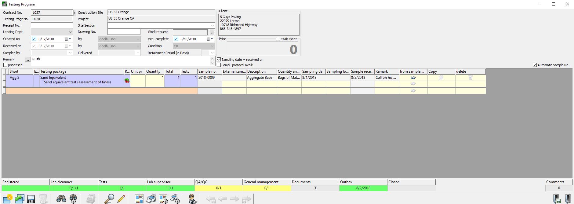 Labratory Workflow Management Module Status Bar