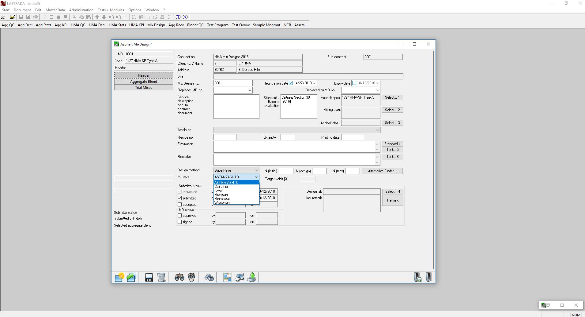 State Drop Down Asphalt Mix Design Module